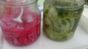 Snabbinlagd rödlök och gurka