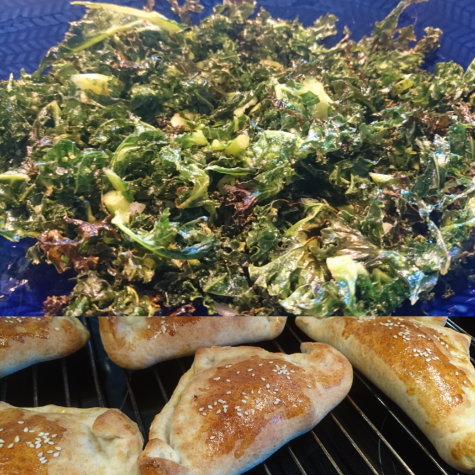 Piroger med kryddstark färs och grönkålschips
